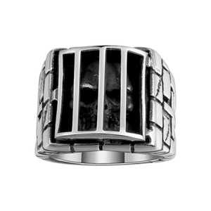 Hottest Mens Silver Black Iron Men Ring Personality Antique Skull Cage Stainless Steel Hip Hop Jewelry