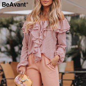 BeAvant Polka Dot Primavera-Verão blusas e camisas de manga longa das mulheres Moda Ruffles Casual Top Blusa Alças Sexy Blusas