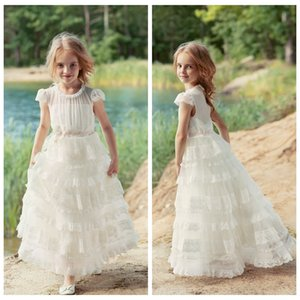 2019 Cute Little Flower Girls' Dress With Tulle Tiered Skirts Kids Party Gown with Jewel Collar Birthday Communion Dresses