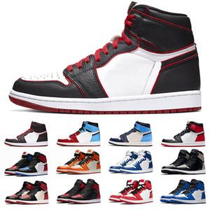 Nike air jordan Retro 1 1s tênis de basquete 1 Homens Mulheres Bloodline Bred Toe de cetim preto sem medo dos homens treinadores desportivos Sneakers Tamanho 36-47