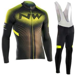 Northwave NW 2019 프로 팀 자전거 타기 옷 긴 소매 유니폼 정장 투명한 가을 야외 자전거 타기 MTB 의류 세트