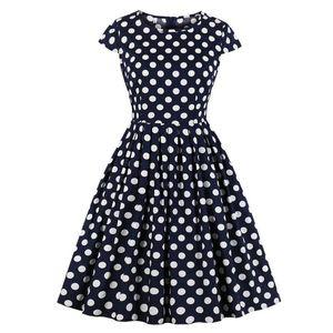 2020 summer vintage polka dot dress women Short Sleeve Retro cotton Party Prom Swing Rockabilly Dress SP0194