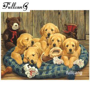 FULLCANG diy diamond painting cross stitch собаки партия алмазная вышивка животные полная квадратная мозаика 5d рукоделие D365