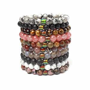 Black Lava Vulkanstein 7 Chakra Armband Naturstein Yoga Armband Healing Reiki Gebet Gleichgewicht Buddha-Korn-Armband-Mischungsfarbe