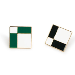 designer jewelry square stud earrings tartan square black and white stud earrings for women hot fashion