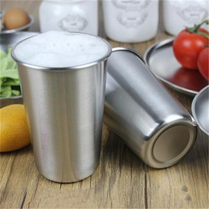 1Pc 500ML Stainless Steel Cups 16oz Tumbler Pint Metal Travel Mugs Coffee Bar Wine Hand Cup Drinking Accessories