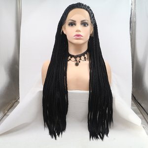 Aohai lace front Wig black braided wigs Synthetic Wig for Women for cosplay heat resistant fiber