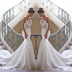 2020 Ucuz Dantel Mermaid Beach Gelinlik Saten Dantel Aplike Sweep Tren Boho Wedding Gelinlik elbiseler de mariée BC0190