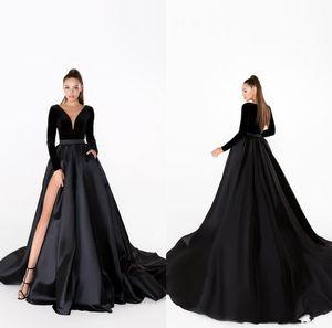 2020 Black Evening Dresses V Neck Velvet A Line Sweep Train Satin Skirt Long Sleeve Cheap Prom Dress Sexy High Split Formal Occasion Gowns
