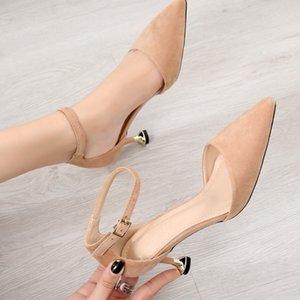 Crystal2019 Woman Shoes Small 313233 Single Todos los tipos de zapatos están desnudos. Sharp One Buckle Bring Cavity Zapatos de tacón alto Finos con