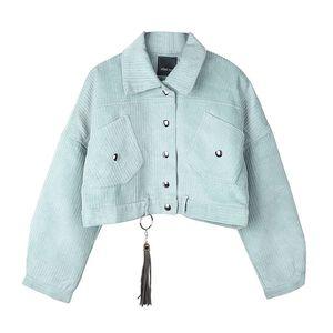 PERHAPS U женская вельветовая куртка карман зима осень верхняя одежда кнопка кисточка черный серый синий C0043 T190907