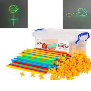 100 4D Space Straw Stitching Assembly Children Fluorescent Stick Grow in Dark Build Creative Blocks Model Building Kits Kids Toy