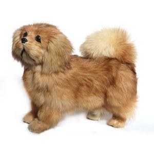 Peluche realista animal pekinés peluche de peluche suave realista caniche juguete mascota perro decoración regalos 20 * 26 cm