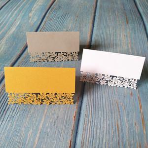 50 개 도매 화이트 골드 잎 테이블 이름 장소 카드 재활용 종이 파티 웨딩 이벤트 레이스 컷 게스트 이름 마크 카드