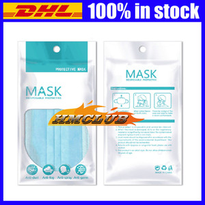 In stock OPP Bags Zipper Plastic Retail packaging bag For Disposable Protective Face mask bag Dustproof package bag Anti bacteria Masks bags