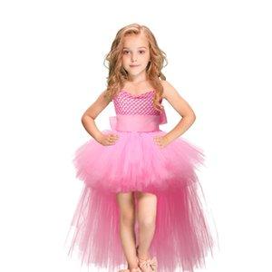 Pink Girls Pageant Dresses Rhinestones Beaded Top Sheer Cap Sleeve Ribbon Belt Flower Girls Dress Kids Birthday Gown