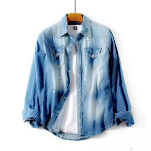 Mens Designer Denim Jackets Print Hole Pocket jeans Jacket Streetwear Hip Hop Fashion Mens Coat Solid Tops Size M-2XL MD2C