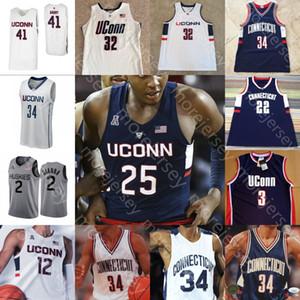 Özel Connecticut UConn Huskies Basketbol Jersey NCAA Kolej Brendan Adams Akok Sidney Wilson Drummond Gay Kuzu Butler Gordon Hamilton