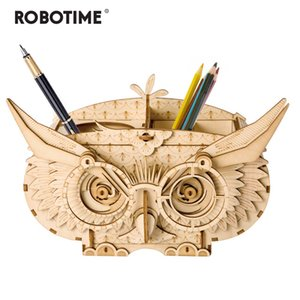 Robotime 7 Kinds DIY 3D Wooden Animal&Building Puzzle Game Assembly Toy Gift for Children Kids Adult Model Kits TG207 Y200704