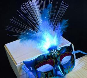 Glowing fibre de masque de mascarade de Halloween Princesse plume masque led Parti jouet lumineux props mode enfants Jouets article YSY45Q