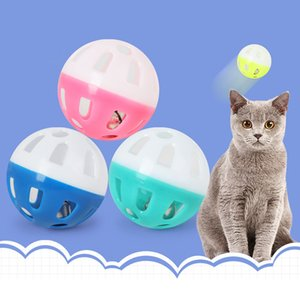 Juguetes para mascotas hueco de plástico gato mascota pelota de juguete de colores con Bell de Bell Lovable Voz Interactivo de plástico bola del retintín Jugar el perrito de juguete DBC BH3591