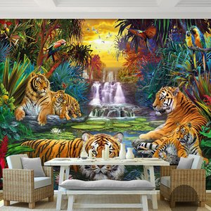Custom Photo Wall Paper Original Forest Waterfall Tigers Animal 3D Large Mural Wallpaper For Living Room Bedroom Papel De Parede