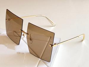 nuove donne stilista degli occhiali da sole 0123 di grandi dimensioni senza cornice quadrata Occhiali superiore protezione dai raggi UV qualità eyewear popolare stile d'avanguardia