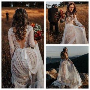 Vintage V cuello ver a través de la boda del cordón de Boho vestidos de boda largo vestido rústico de la manga vestido de novia Vestidos de novia Baratos
