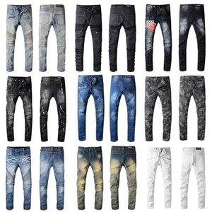 Balmain jeans da uomo slim fit jeans strappati Uomini Hi-Street Mens Distressed Denim Pantaloni Fori ginocchio Lavato Distrutta 22 Stile Jeans