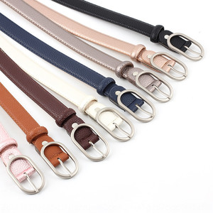 Noah's new style women's popular student belt decorated flat jeans and jeans Oval geometric thin belt women