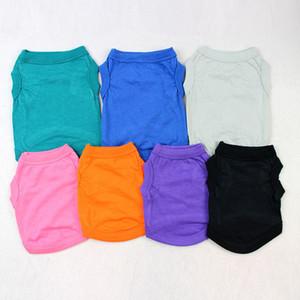 T-Shirts sólido del verano ropa para perros de moda top del algodón del chaleco de ropa para perros perrito ropa de perros pequeños barato mascota Ropa XD21545