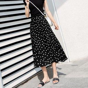 female 2019 chiffon polka dot mid- over black high waist a character long skirt slim long skirt