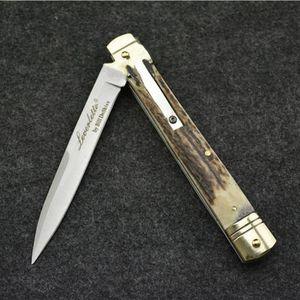 OEM 9.65 pouce Bill DeShivs leverletto classique en laiton + poignée de poignées collection d'illustrations ITA couteau auto couteau camping cadeau couteaux de Noël pour homme