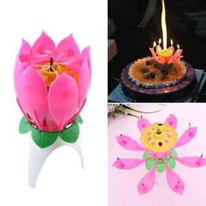 로터스 꽃 촛불 싱글 레이어 음악 촛불 로터스 촛불 생일 촛불 파티 케이크 음악 스파클 케이크 양초