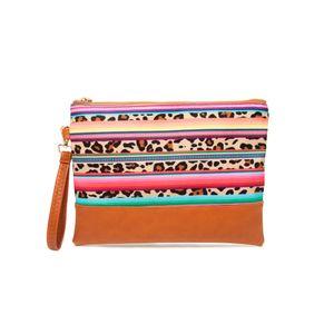 Leopard all'ingrosso Serape mano del cinturino dell'orologio borsa personalizzata Stripes Wallet Clutch Bag Aztec Canvas Cosmetic Pouch Bag con la chiusura lampo DOM-1081069