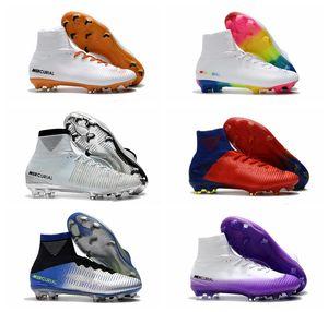 NIKE 2019 erkek futbol cleats Mercurial Superfly V Ronalro FG kapalı futbol ayakkabı çocuklar futbol çizmeler cr7 erkek neymar çizmeler Yükselen Hızlı Paketi ucuz