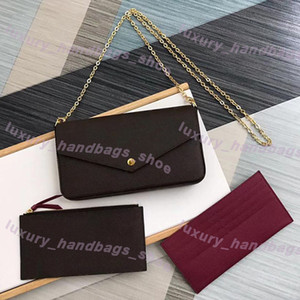 Sıcak üç parçalı takım elbise çanta Kahverengi mektup çiçek Gerçek Deri Moda Zincir Omuz Çantaları Çanta Mini Cüzdan Kart Sahibi Çanta