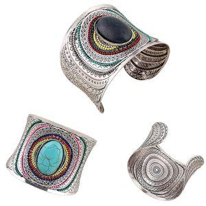 1PC Summer Очаровательного Большой Bangles Bohemian тибетского серебряный браслет природные овальный Широкая манжета браслеты Эмаль ювелирные изделия для женщин
