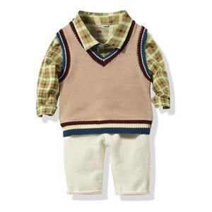 2019 Autumn Baby Boys Clothes Set Plaid Shirt Knitted Vest Pants Kids 3pcs Set Children Outfits Set 15224