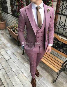 High Quality One Button Wedding Men Suits Peak Lapel Three Pieces Business Groom Tuxedos (Jacket+Pants+Vest+Tie) W1035