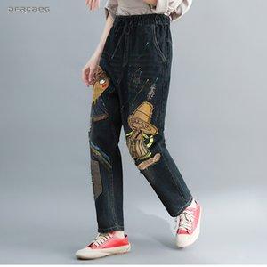 Elastische Taille plus Größe Jeans für Frauen Boyfriend 2019 Herbst lose Damen Neun Länge Retro Cartoon Cowboy Denim Haremshosen