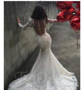 Long Sleeves Sheer Scoop Neck Mermaid Bridal Gown With Court Train