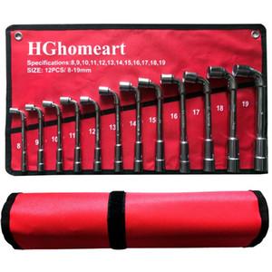 Llave de la herramienta de reparación de automóviles Set L Tipo del zócalo Juego de llaves de acero al carbono de alta L tipo de tuberías de perforación para herramientas Kits Claves con la bolsa Paquete
