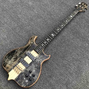 Custom Burst Maple Top 4 Strings Neck Through Body Ebony Fingerboard Bass Guitar