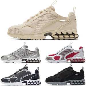 Designer Stussy Zoom Spiridon Caged Style Canvas New Fosssil Varsity Red Breathable Running Shoes Pure Platinum Men Women Luxury Sneakers