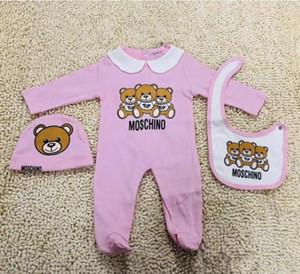 Cute Vêtements de bébé nouveau-né Mode bébé garçons bébé Lettre Romper bébé fille Tenues Cap Tenues Set
