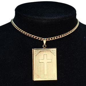 Fashion Photo Frame Memory Locket Pendant Gold Color Romantic Heart Cross Choker Necklace Women Jewelry Dropshipping