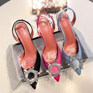 Diseñador Negro satinado cristal hebilla para mujer Zapatos abiertos Bombas de charol sandalias de gladiador Transparentes zapatos de tacón alto de plata-