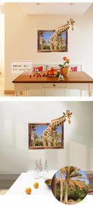 Ложное окно 3D Жираф Животных Стикер Стены фон Украшение эмуляции Домашнего Декора гостиная Наклейки Художественные Наклейки плакат