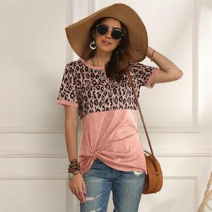 Women's T-Shirt Leopard Women Patchwork Top Summer Short Sleeve Tee Shirts Clothes 2021 Tie Tops Female 2XL